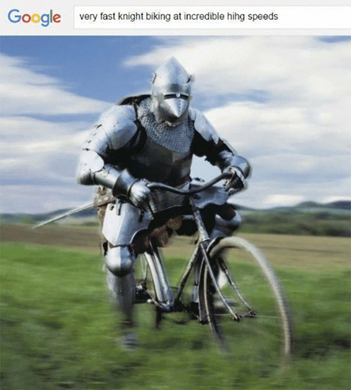 Google Search Screenshot of a Knight Riding a Bike