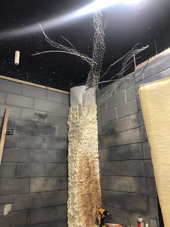 Harry Potter-themed Bedroom Tree Pillars Work in Progress
