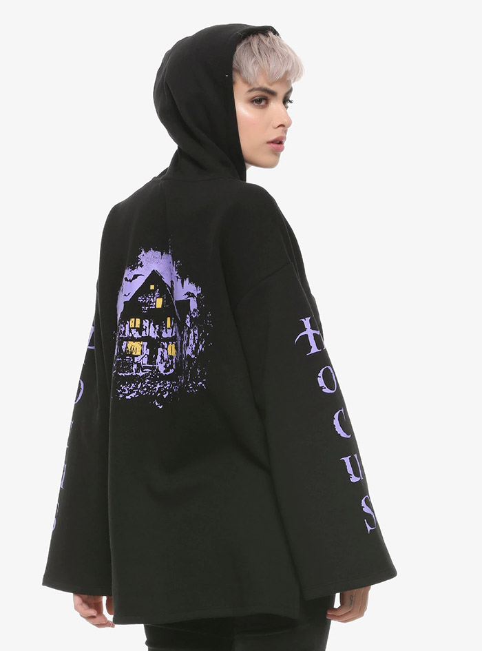 Hocus Pocus Clothing Collection Black Bell Sleeve Hoodie Back detail