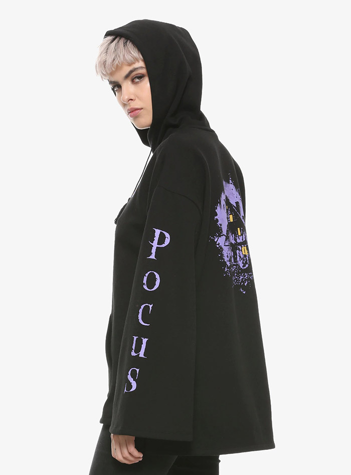 Hocus Pocus Clothing Collection Black Bell Sleeve Hoodie pocus sleeve detail