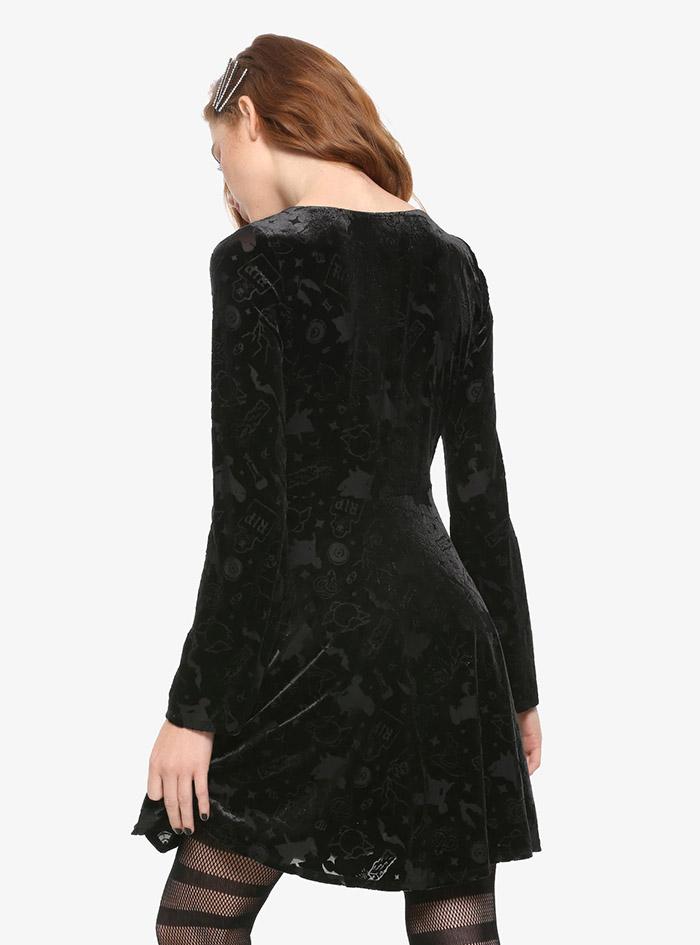Hocus Pocus Clothing Collection Black Velvet Sleeve Dress back