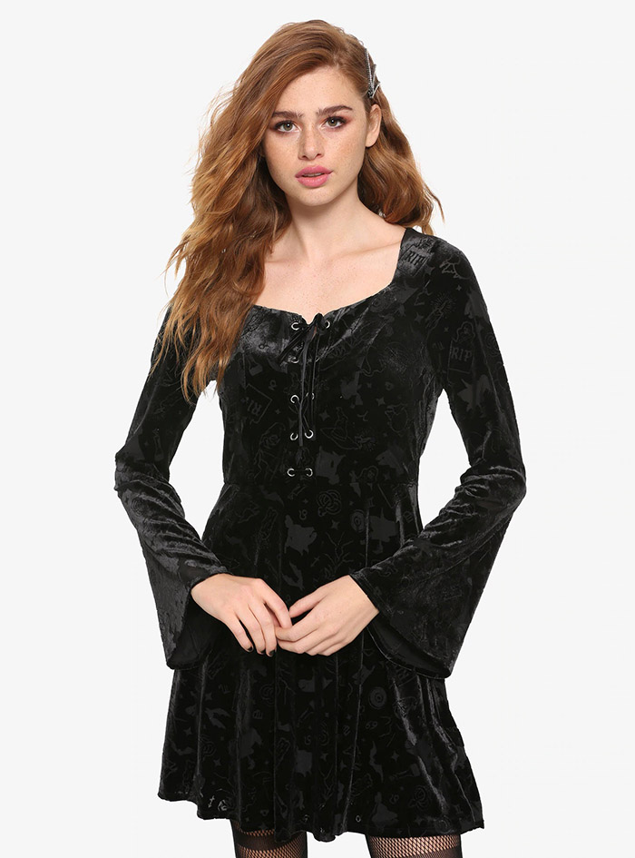 Hocus Pocus Clothing Collection Black Velvet Sleeve Dress front