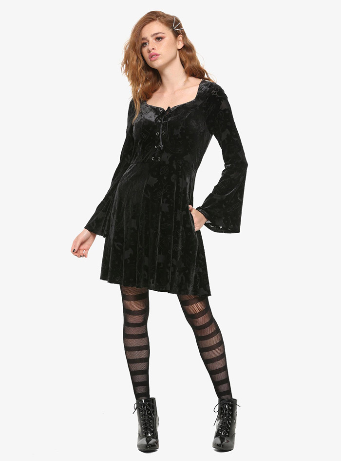 Hocus Pocus Clothing Collection Black Velvet Sleeve Dress full view