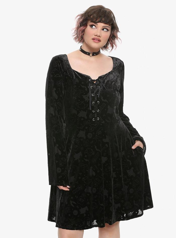 Hocus Pocus Clothing Collection Black Velvet Sleeve Dress plus size front