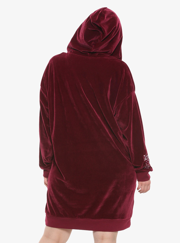 Hocus Pocus Clothing Collection Maroon Velour Lace-Up Hoodie Dress Plus Size Back