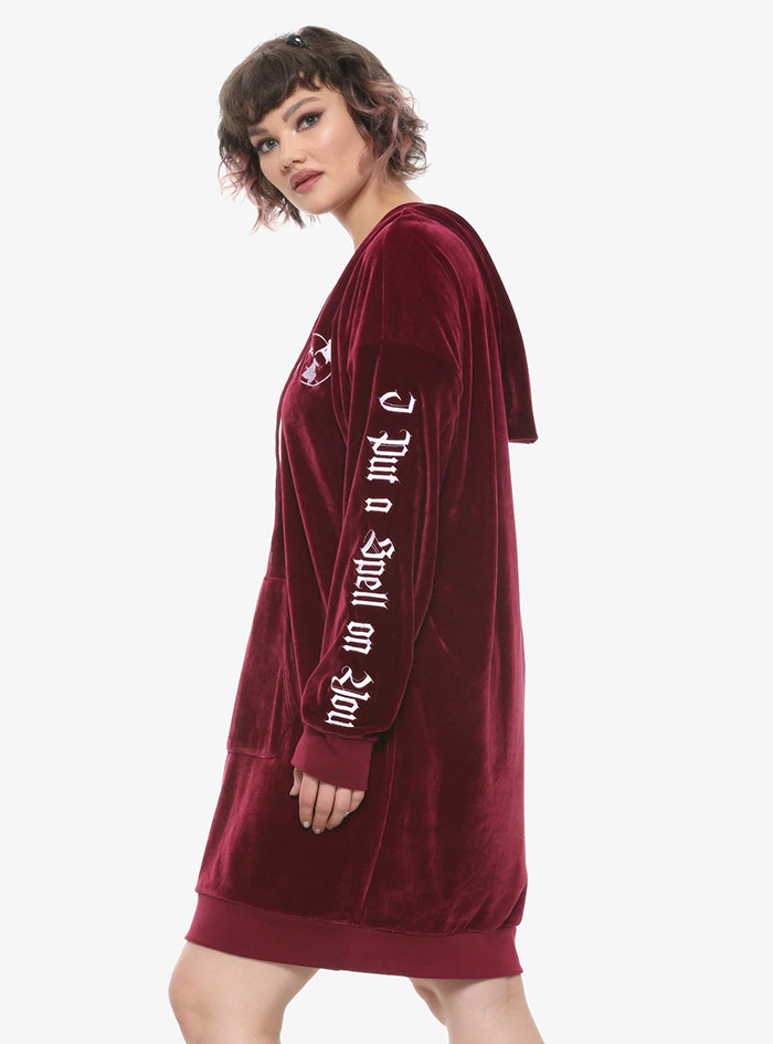Hocus Pocus Clothing Collection Maroon Velour Lace-Up Hoodie Dress Plus Size Sleeve Embroidery