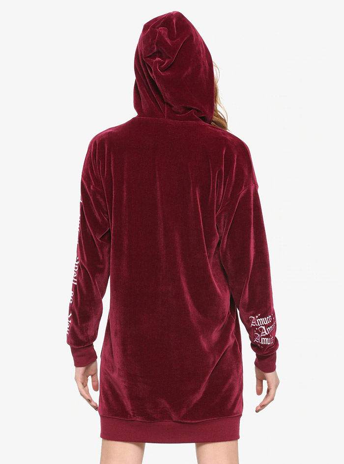 Hocus Pocus Clothing Collection Maroon Velour Lace-Up Hoodie back