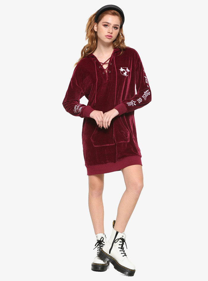 Hocus Pocus Clothing Collection Maroon Velour Lace-Up Hoodie on model