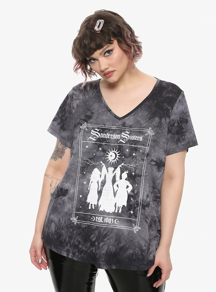 Hocus Pocus Clothing Collection Sanderson Sisters Acid Wash Girls Strappy Top Plus Size