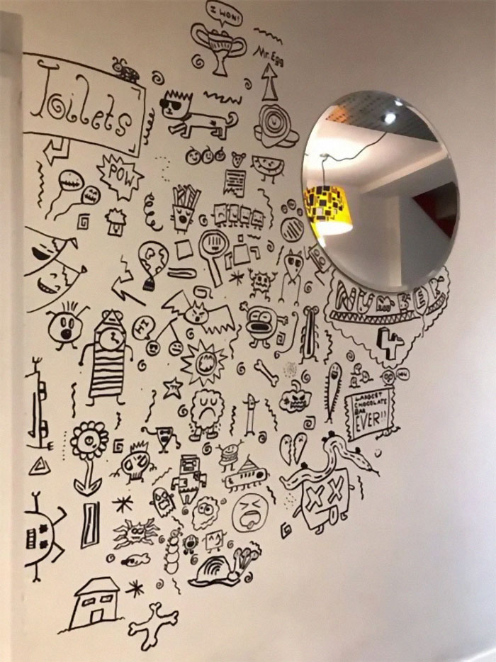 Joe Whale's Unfinished Doodles on a Restaurant's Dining Room Wall