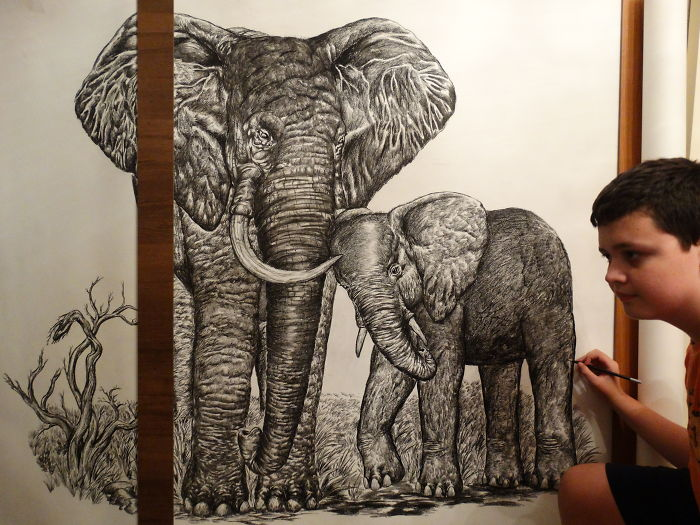 Krtolica Working on His Drawing of Two Elephants