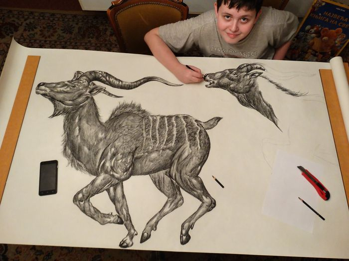 Krtolica Working on His Drawing of Two Goats