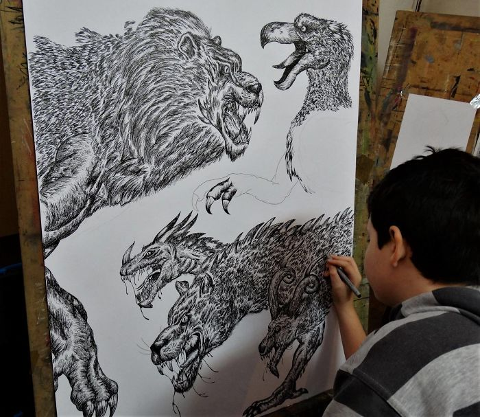 Krtolica Working on His Drawing of Various Wild Animals 2
