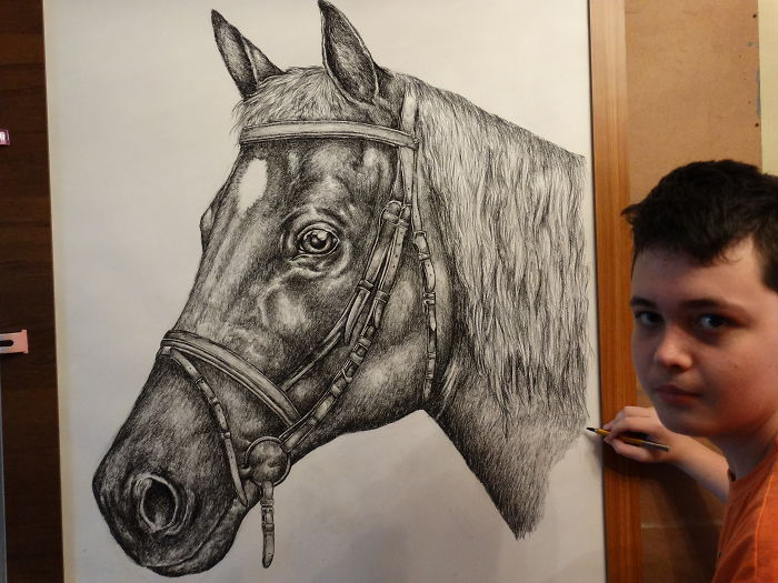 Krtolica Working on His Drawing of a Horse