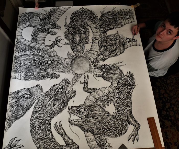 Krtolica Working on His Drawing with Various Dragons