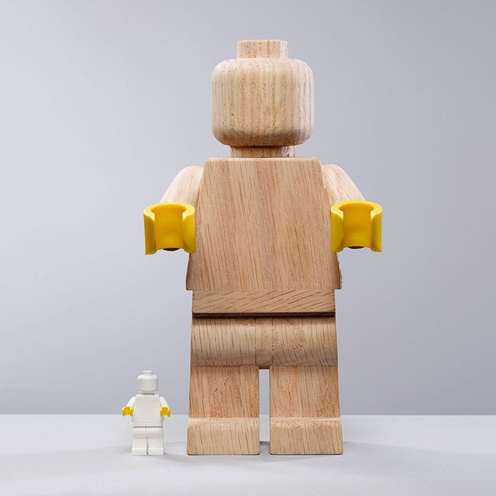 LEGO Originals Wooden Minifigure and a Classic LEGO Minifigure