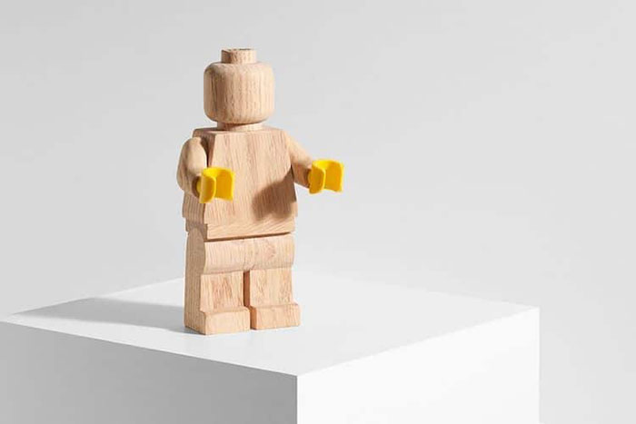 LEGO Wooden Figure with Yellow Hands