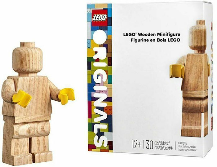 LEGO Wooden Minifigure Sample and Packaging