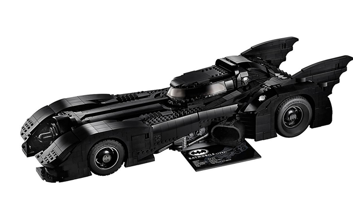 LEGO batmobile side with card