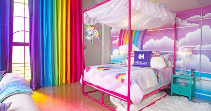Lisa Frank-themed hotel room