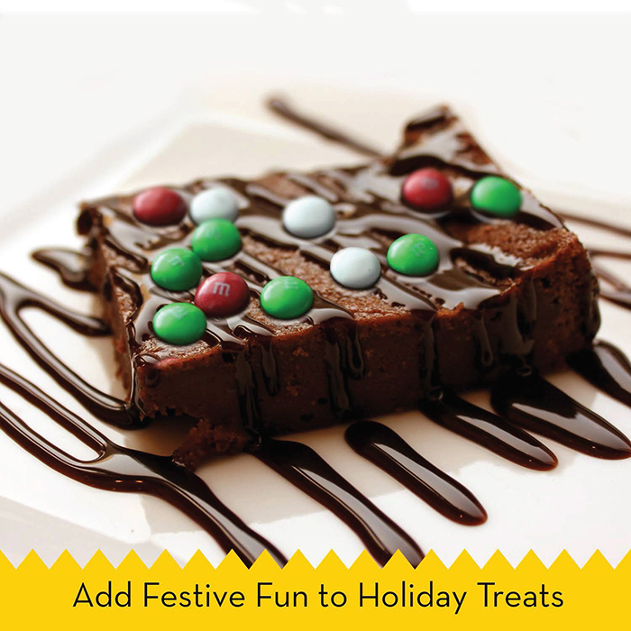 M&M's Holiday Mint Flavor Pieces on a Brownie