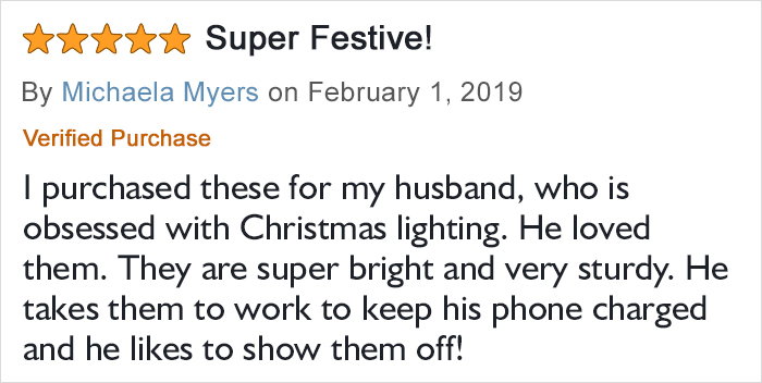 Michaela Myers Amazon Christmas Lights Phone Charger Product Rating and Review