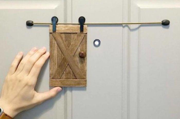 Miniature Barn Door as a Peephole Cover