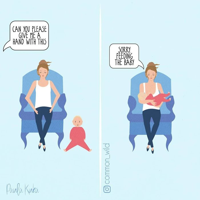 Mother Uses Feeding Baby as Excuse Not to Help Husband Illustrations