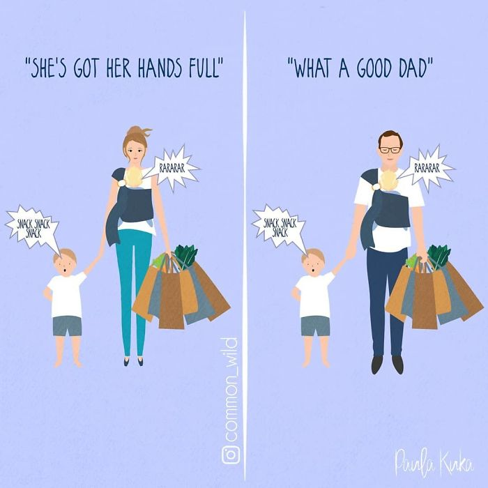 Mother Versus Father Carrying a Baby While Holding Son's Hand on One Hand and Grocery Bags on the Other Hand Illustrations