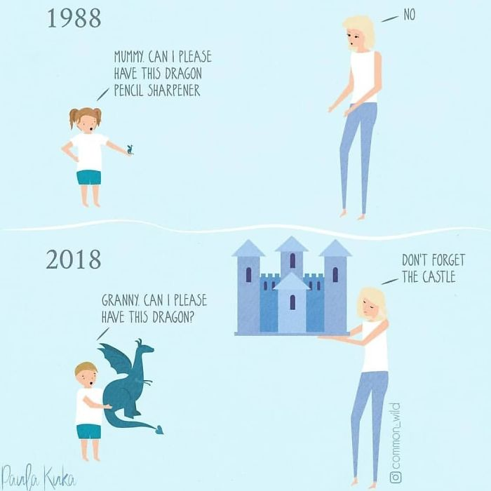 Mother Versus Grandmother Granting Children's Requests Illustrations