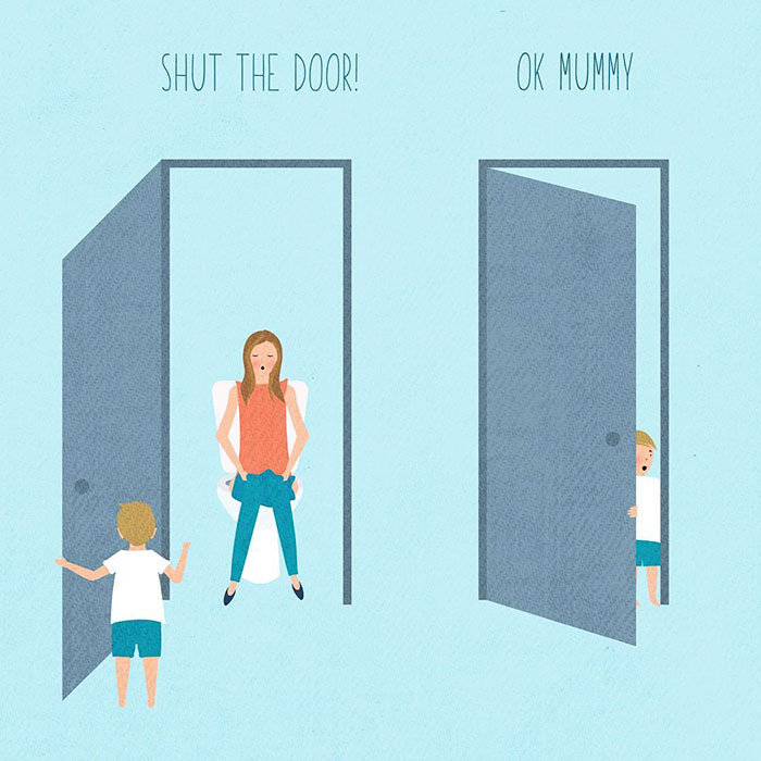 Mother in the Toilet with Son Illustrations