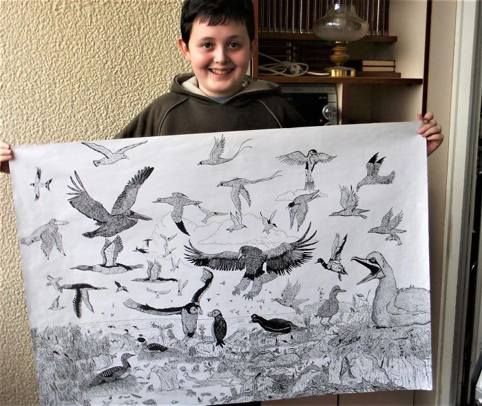 Nine-year-old Dusan Krtolica ShowingHis Drawing of Birds