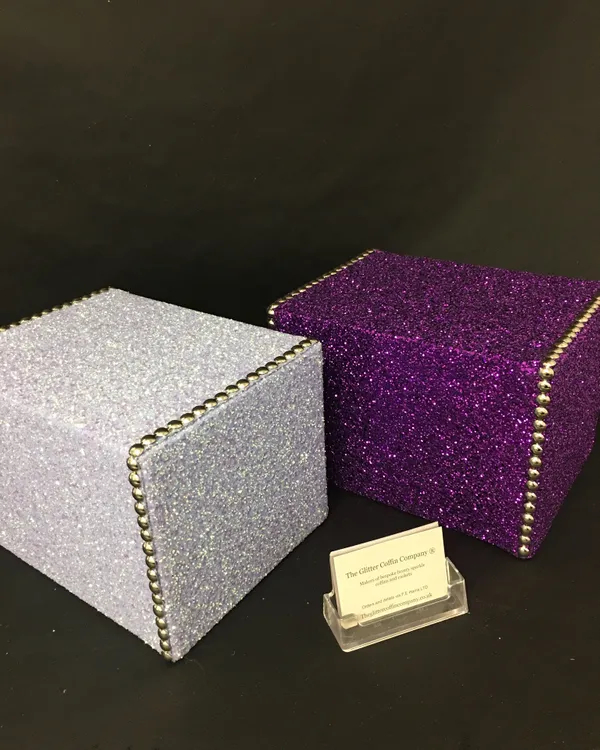 Opal White and Purple Glitter Ash Boxes