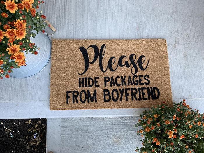 Please Hide Packages from Boyfriend Funny Doormat