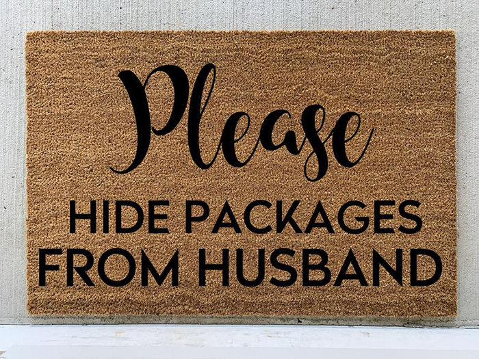 Please Hide Packages from Husband Funny Doormat