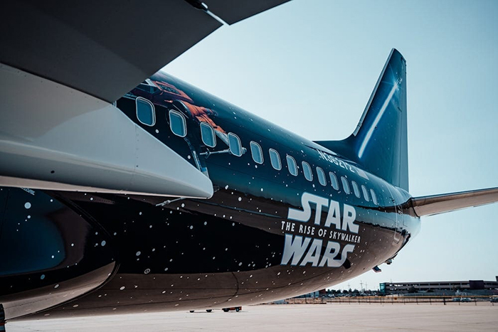 Rear Details on Star Wars-themed Boeing 737 Plane