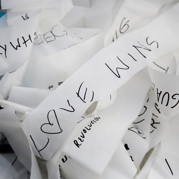 Sample messages seen on the streamers used in the installation