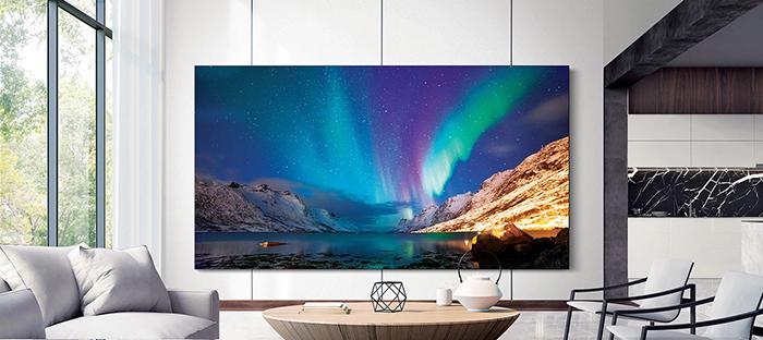 Samsung 219-inch TV Displaying an Aurora Borealis