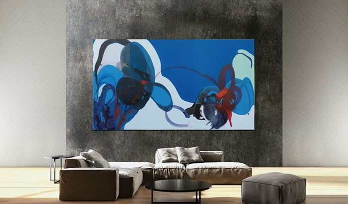 Samsung 219-inch TV The Wall Displaying Blue Abstract 2001 by Stephanie Pryor