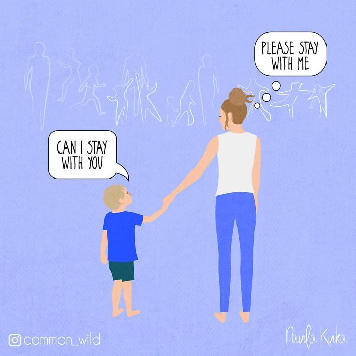 Son Asking Mother if He Could Stay with Her and Mother Asking Son to Do the Same Illustration