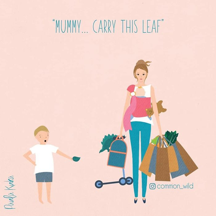 Son Asking Mother to Carry a Leaf Illustration