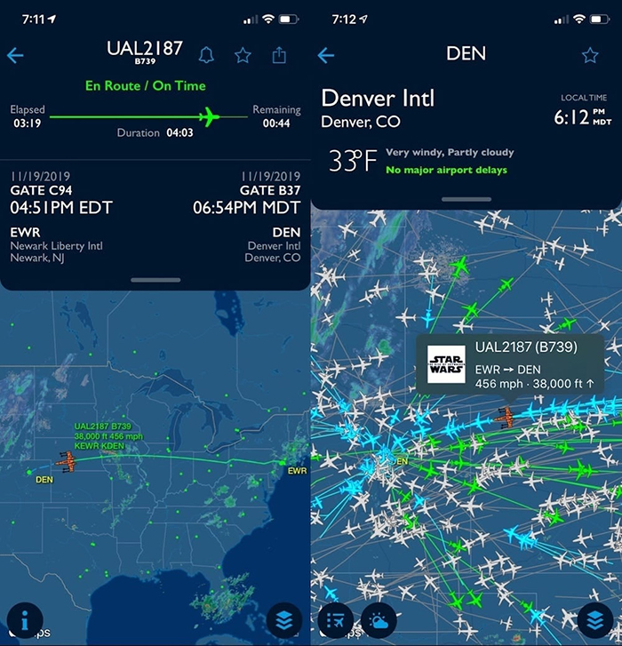 Star Wars-themed Boeing 737 Flight Tracking Screen