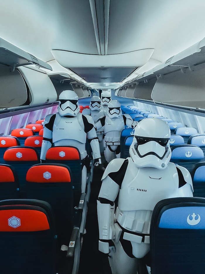 Stormtroopers Aboard the Star Wars-themed Boeing 737 Plane
