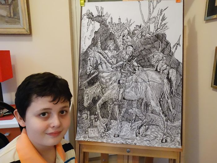 Ten-year-old Dusan Krtolica with His Drawing of a Knight