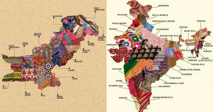 Textile Map of Pakistan and India
