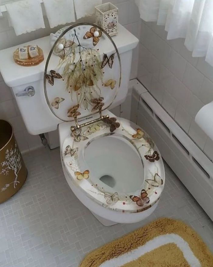 Toilet Bowl with Butterfly Design