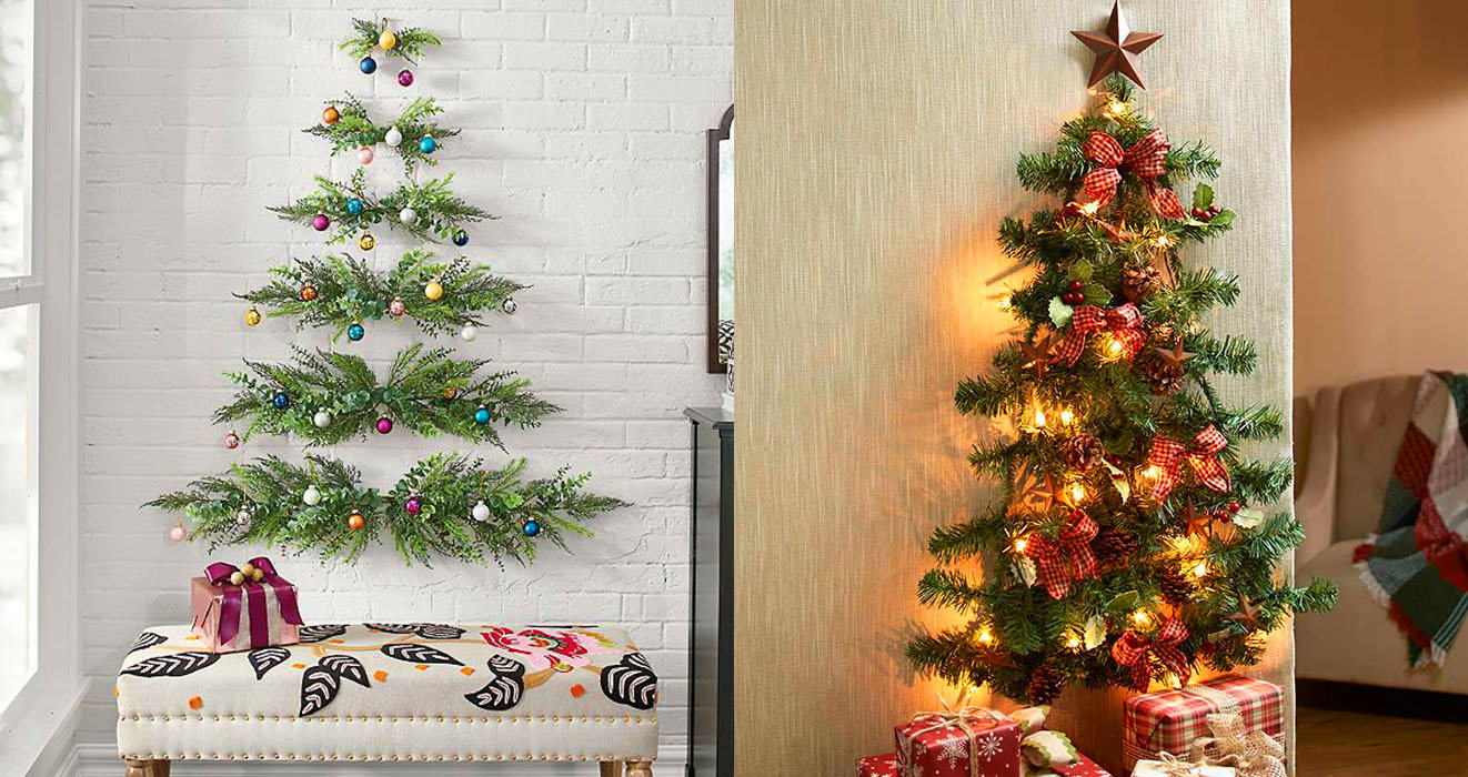 These Space-Saving Wall-Mounted Christmas Trees Are