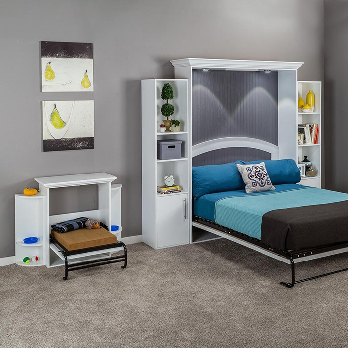 bed-and-cabinet with side shelves for dogs