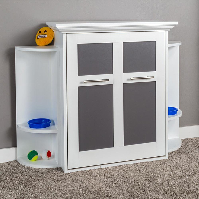 bed-and-cabinet with side shelves