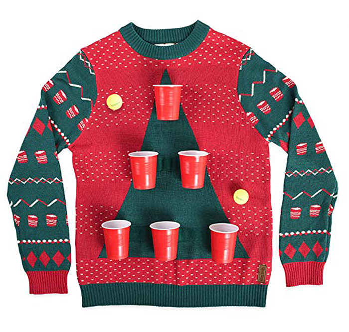 beer pong sweater with cups and balls
